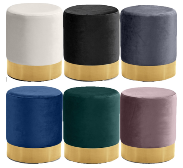 Recalled ottoman in cream, black, gray, navy, green, and pink with a gold band