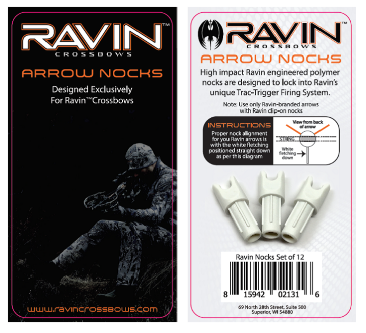 Recalled white arrow nocks with packaging