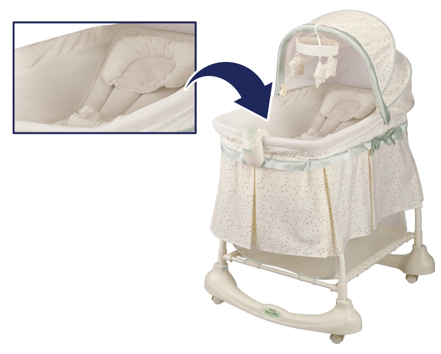 Recalled inclined sleeper accessory found in Kolcraft Cuddle 'n Care 2-in-1 Bassinet & Incline Sleeper (model number starting with KB063)