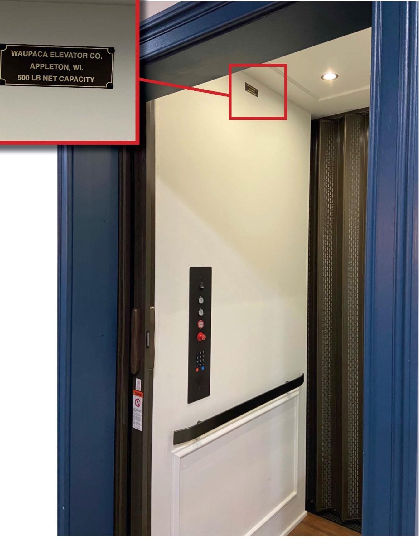 Recalled Waupaca residential elevator, Custom Lift model with label