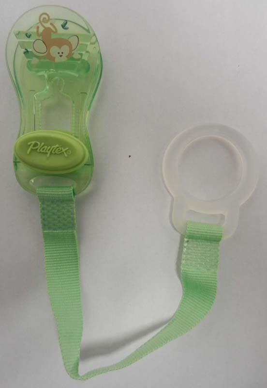 Recalled Playtex green pacifier holder clip