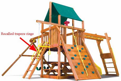 Rainbow Play Systems Play set with recalled trapeze rings