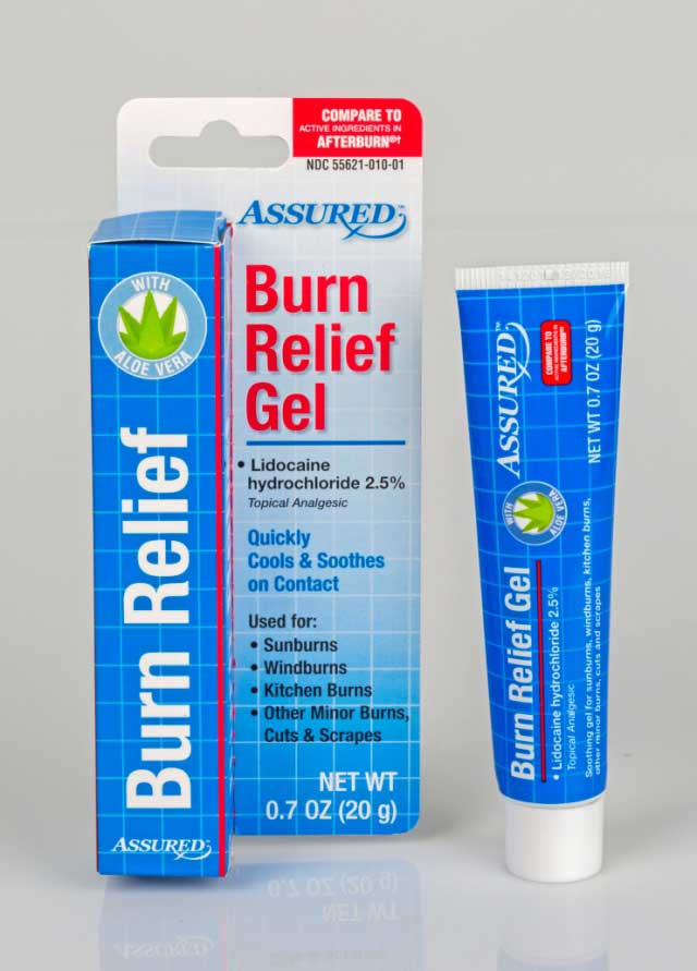 Assured TM Burn Relief Gel (Front)