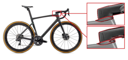 Recalled Specialized Tarmac SL7 fork steerer tube showing the integrated (hidden) cable routing