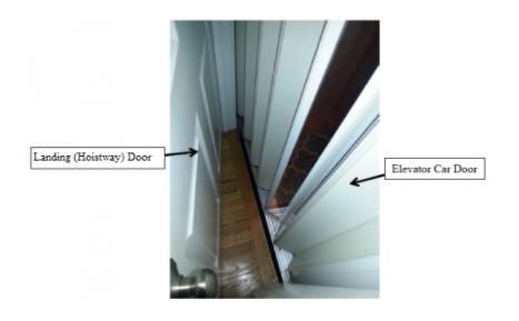 Typical Private Residence Elevator with Exterior Landing (Hoistway) Door and Interior Elevator Car (Accordion) Door