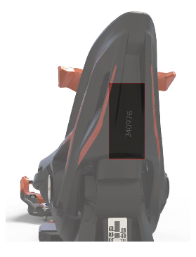 Location of the serial number on the heel unit of the recalled ski binding.