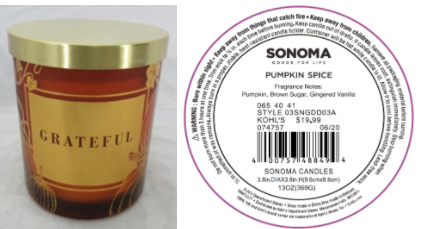 Recalled Kohl's Grateful Candle