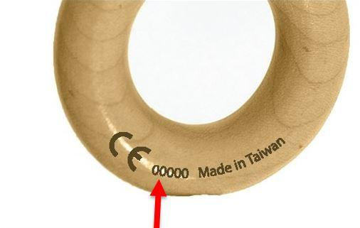 Location of the date code number (14714 or 21815) on the rattle handle