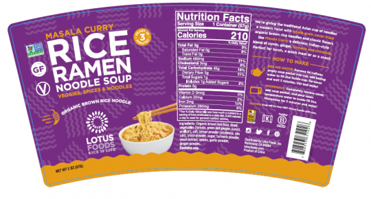Recalled Lotus Foods masala curry rice ramen noodle soup cup label