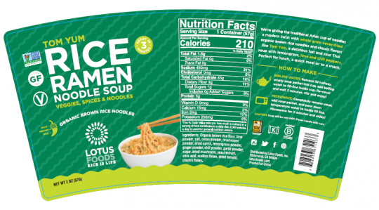 Recalled Lotus Foods tom yum rice noodle soup cup label