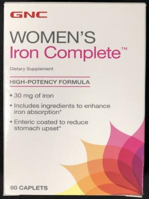 Suplemento alimenticio de hierro para mujeres de GNC Women's Iron Complete Dietary Supplement – sesenta (60) cápsulas