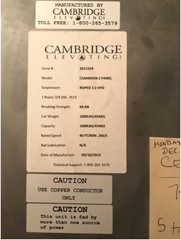 Photo 3: Cambridge Elevating controller label