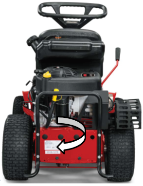 Location of label with model number on back of mower