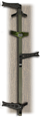 Recalled XOP climbing stick attached to tree (sand ripple green color)