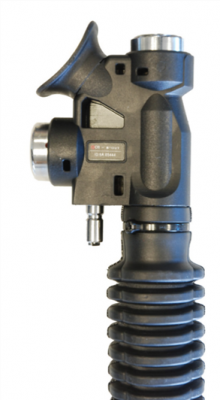 Close-up of XR inflator (serial number is in rectangular label)