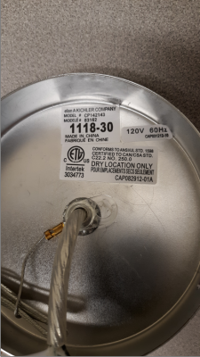 The date code on the recalled lighting fixtures can be found on the inside of the ceiling canopy