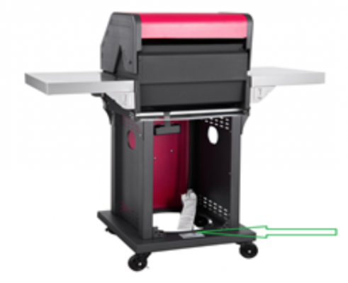 Model # GG2004 is located on the rear base of the Recalled Patio 2-Burner Gas Grill