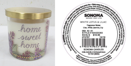 Recalled Kohl's Home Sweet Home Candle