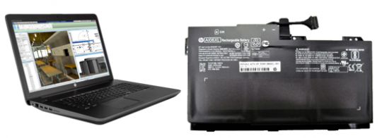 Representative HP computer and recalled battery.