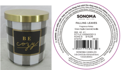 Recalled Kohl's Be Cozy Candle