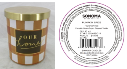 Recalled Kohl's Our Home Candle