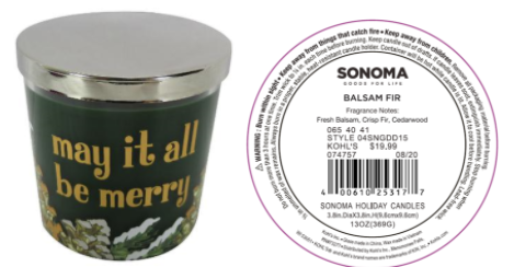 Recalled Kohl's May It All Be Merry Candle