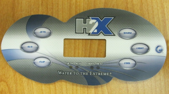 """A Master Spas control panel cover showing the brand name """"H2X"""""""