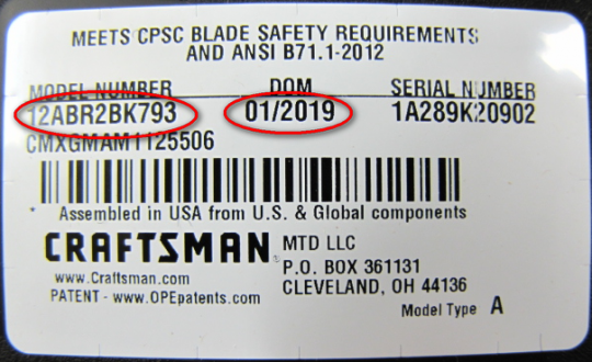 Model number and date of manufacture location