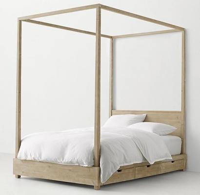 Recalled RH Callum canopy bed – weathered white