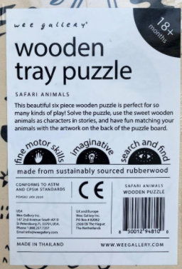 Label on back of recalled Safari Tray Puzzle