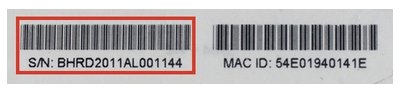 The serial number can also be found on the product packaging.