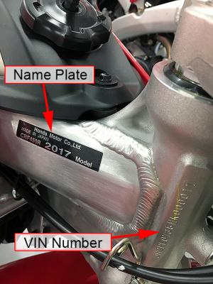 Location of the model year and vehicle identification number – close-up