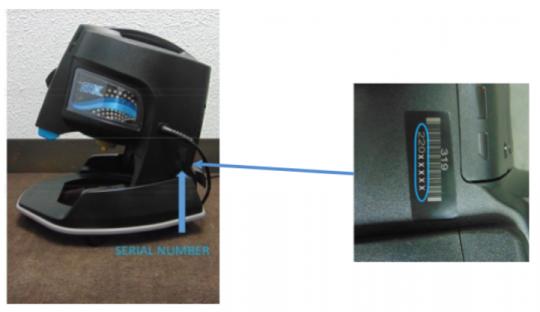 Serial number location on the Rainbow SRX vacuum
