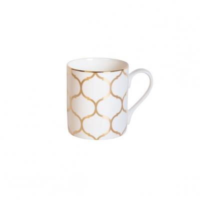 Recalled Fitz and Floyd Nevaeh White lattice Can Mug in Gold