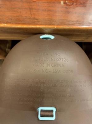 Recalled Kiwi Baby and Toddler Swing Label (Underside)
