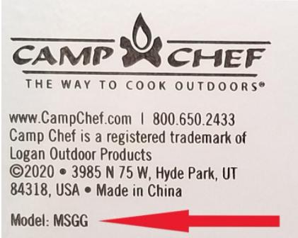 Manufacturer's Label Showing Model Number