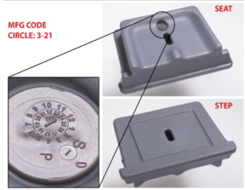 Manufacture code 3-2021 can be found on the removable seat/step