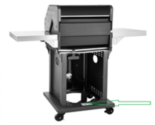 Model # GG2005 is located on the rear base of the Recalled Patio 2-Burner Gas Grill