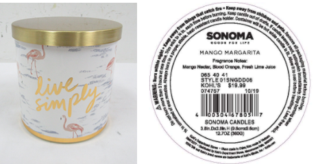 Recalled Kohl's Live Simply Candle