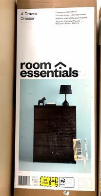 Room Essential 4-drawer dresser packaging