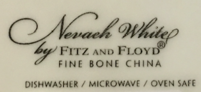 Label on the underside of the Fitz and Floyd Nevaeh White Can Mug