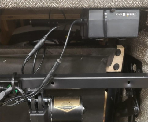 Photo of battery as installed in all Wireless Power furniture