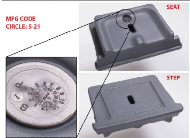 Manufacture code 5-2021 can be found on the removable seat/step