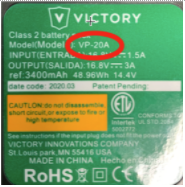 Model VP-20A or VP-20B is printed on the Victory Innovations' battery pack's label.