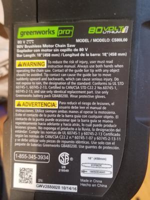 Greenworks Pro 80-volt chainsaw label
