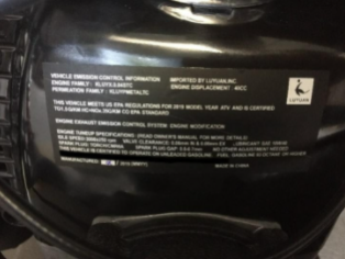 Imported by Luyuan Inc. Label located on the motor