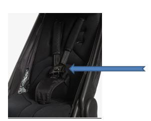 A view of the recalled button on the harness