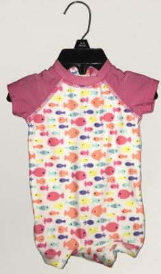 Recalled pink and white with fish pattern Wave Zone Zip Swimsuit