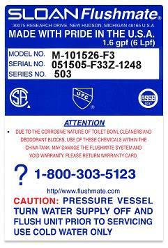 Flushmate III Label