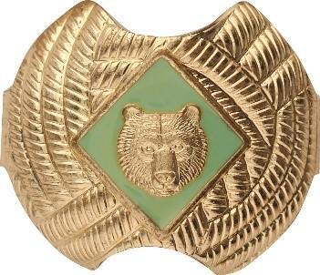 Green bear neckerchief slide